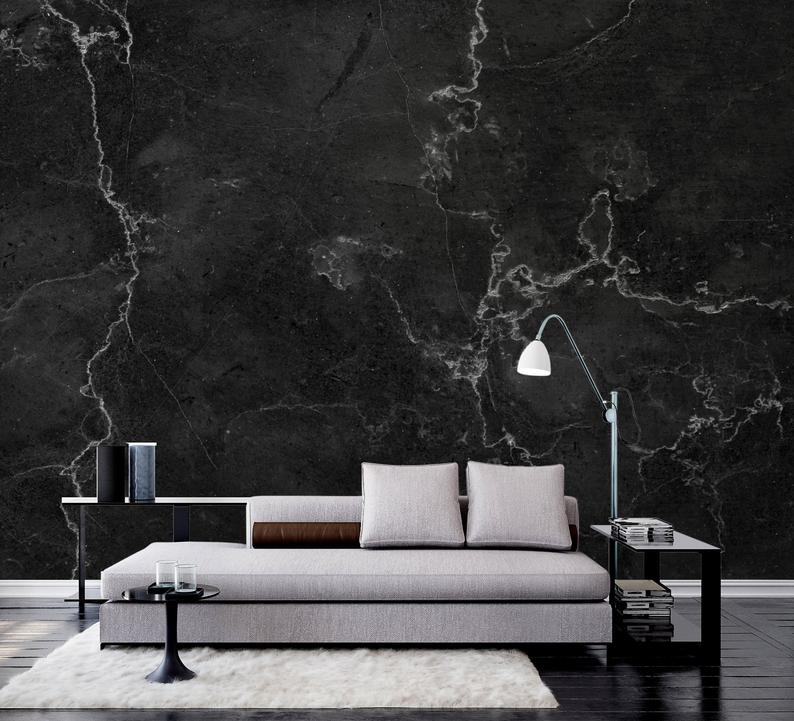 Black And White Marble Textured Wallpaper Self Adhesive Etsy Textured Wallpaper Black And White Marble How To Install Wallpaper