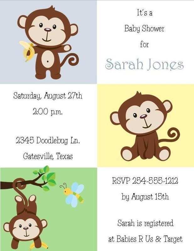 Cute Little Monkey Baby Shower Invitations Changos Baby Shower