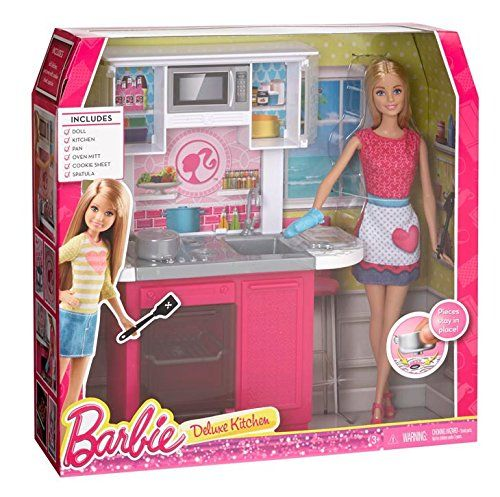 Barbie Doll And Kitchen Furniture Set Ebay Size Dollhouse Barbie