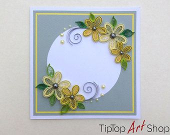 Paper quilling greeting card with handmade yellow flowers on grey paper quilling greeting card with handmade yellow flowers on grey background personalized m4hsunfo