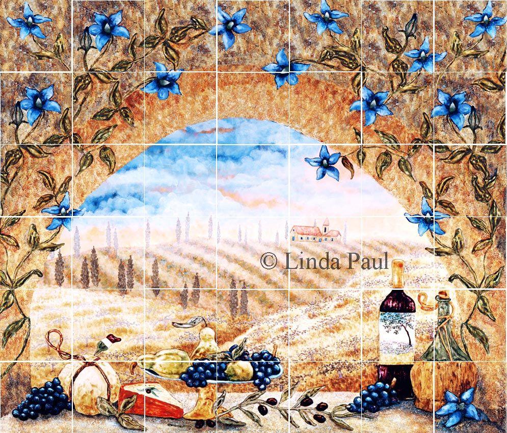 Kitchen tile backsplashes of tuscany by artist linda paul tile tuscan window mural backsplash dailygadgetfo Image collections