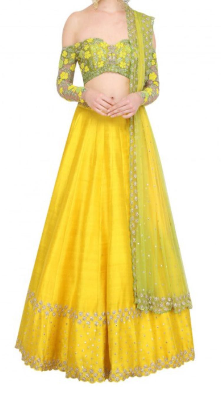 593bf69de6c8 This lehenga is made in dupion silk with full handwork thread embroidery.  The dupatta of this outfit has 2 options, one with Single color with single  border ...