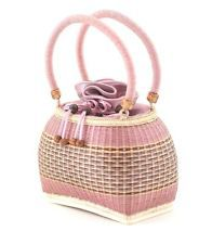 Thai Vintage Woven Bamboo Pink  Basket,Handcraft Handbag Asian Antiques style