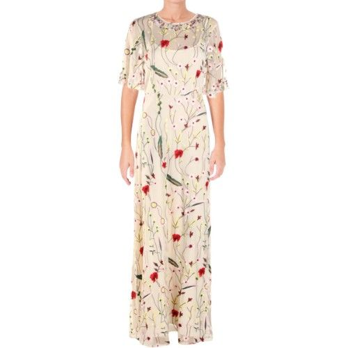 f4ac32c3704e6 Juicy Couture Black Label Womens Embroidered Mesh Maxi Dress, Nude  Wildflowers