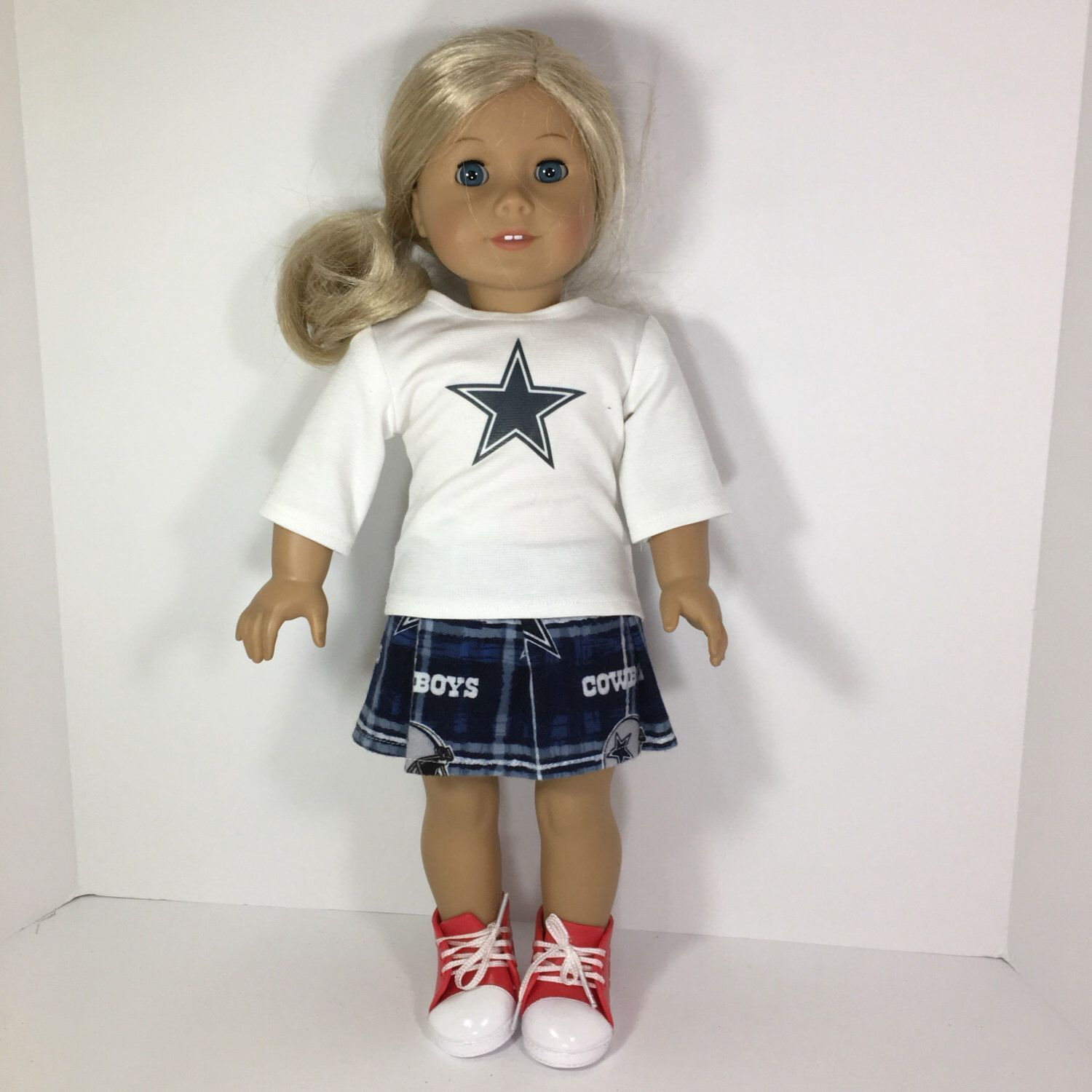 18 inch Doll Clothes - football Printed Cheerleader Outfit fits dolls like American Girl, Journey Girl, My Generation #18inchcheerleaderclothes Your Doll will look fabulous for the Sunday Games. Planning a football themed party? Now your doll can dress with you. *this item comes with the shirt and Skirt. All other items not included. If you have a team you want that isn't available, all you have to do is select custom team and leave a note on which team you want. Depending on fabric availabili #18inchcheerleaderclothes