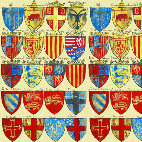Colorful Fabrics Digitally Printed By Spoonflower Knights Of The Round Table Bright In 2021 Medieval Art Canvas Designs Bright Fabrics