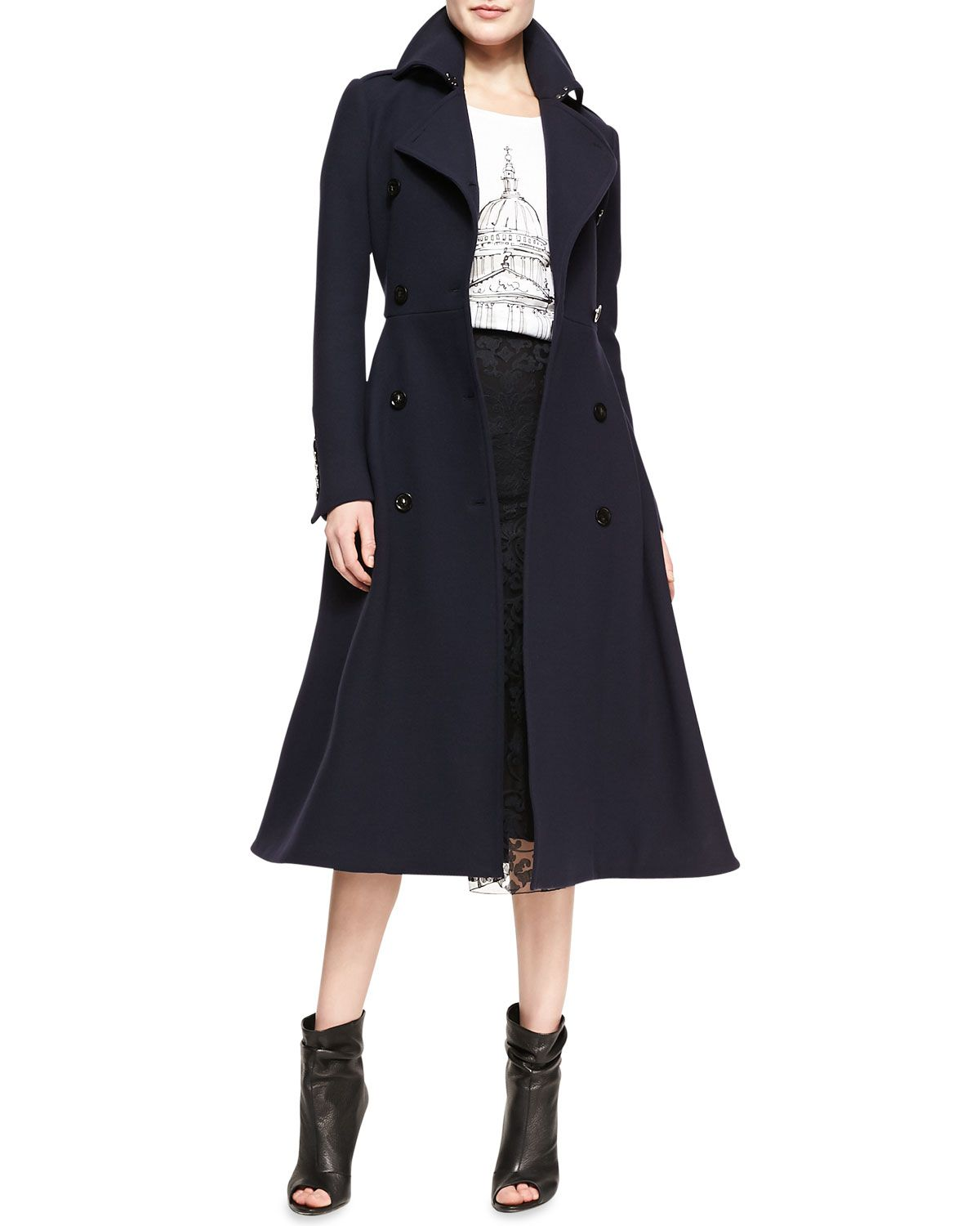 60db9a5cde Burberry Prorsum Double-Breasted A-Line Midi Coat, St Paul's Cathedral  Printed Jersey T-Shirt & Fluted Lace Midi Skirt