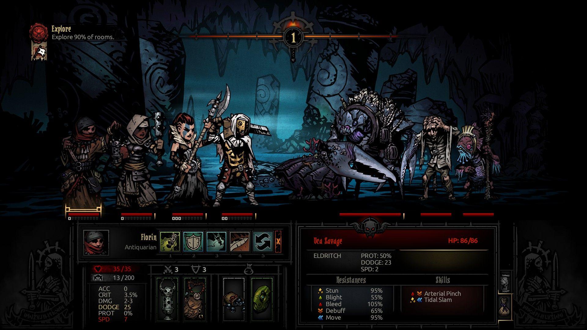 Difficult Enemies Await In The Cove Darkest Dungeon Darkest Dungeon Indie Games Concept Art