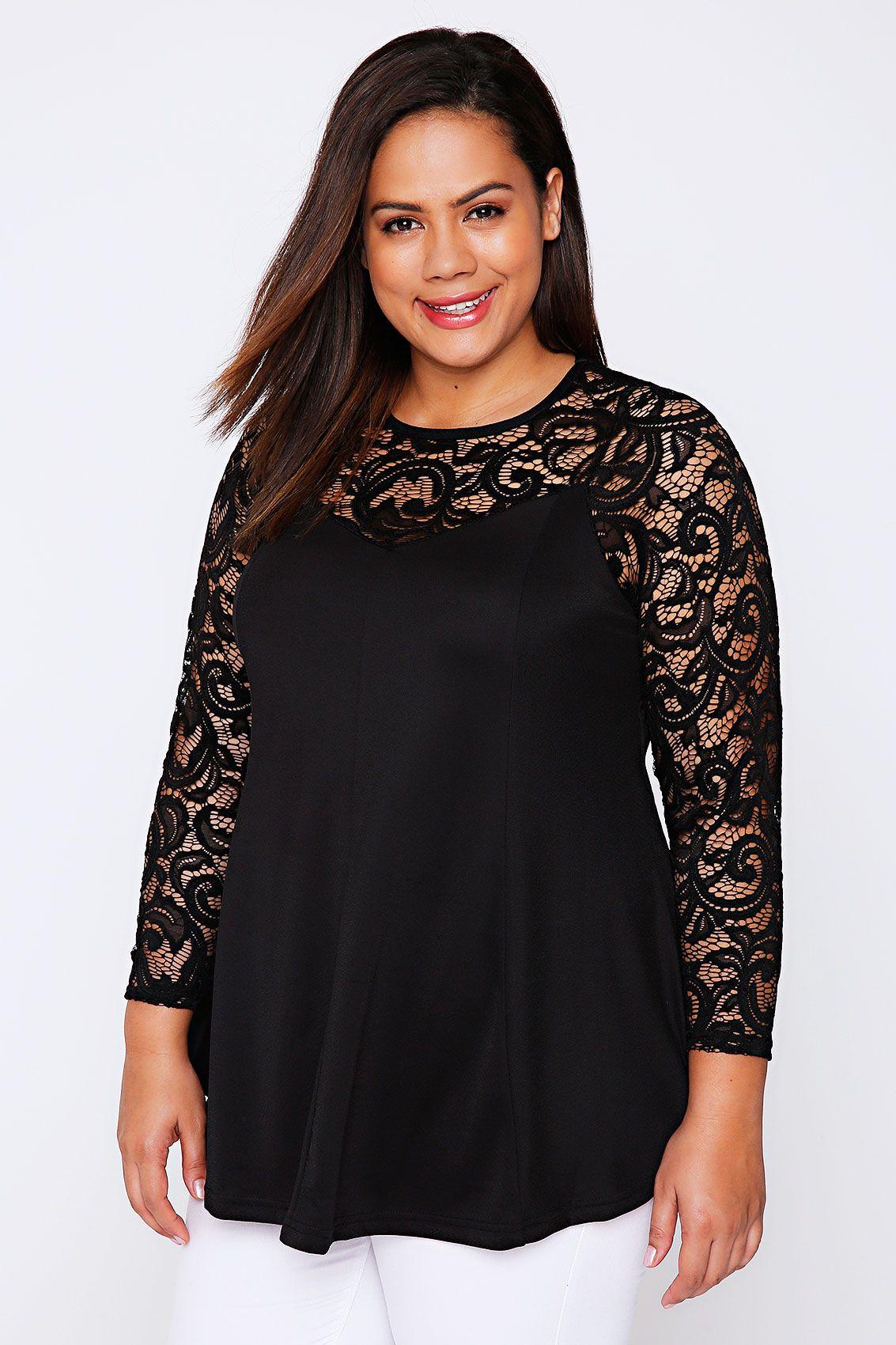 09b2f823e Black Jersey Peplum Top With Lace Yoke Fashion Updates, Fashion Trends, Evening  Tops,