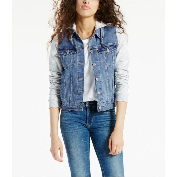 Levis Trucker Hybrid Jacket ($45) ❤ liked on Polyvore featuring trucker jacket