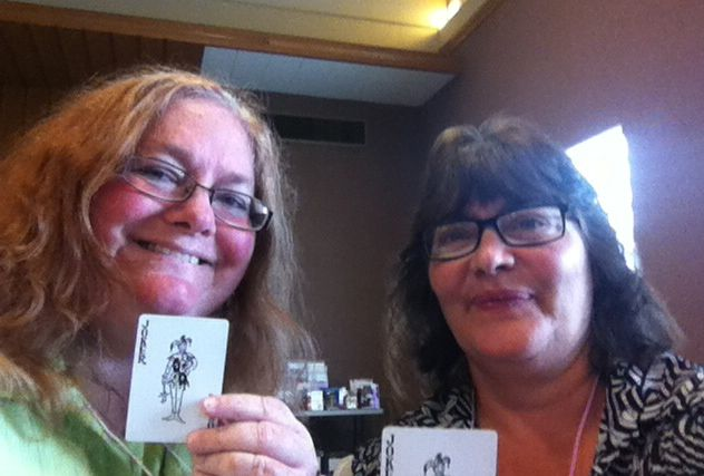 Cindee and Virginia received the Joker cards in the mixer-card-game.