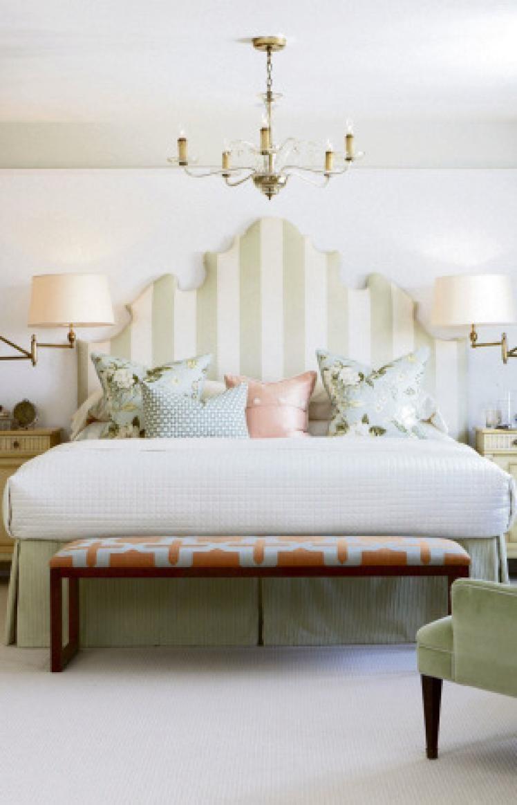 Sarah Richardson - Mix of fabrics and upholstered headboard   Home ...