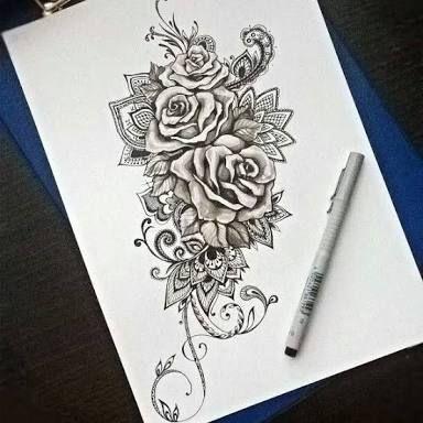 Resultado De Imagem Para Desenho Rosas Com Mandala Tatuagem