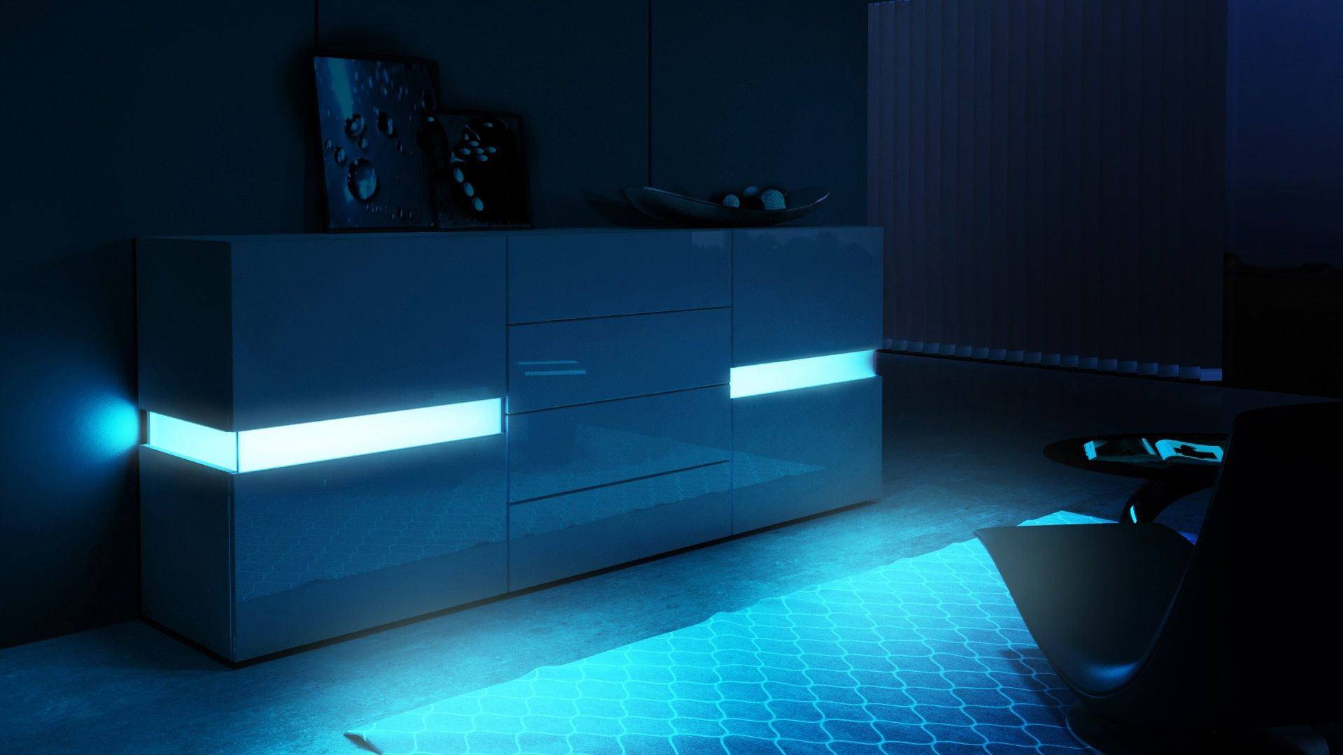 Flow Sideboard Kommode Mit Ambient Light Optionale Led