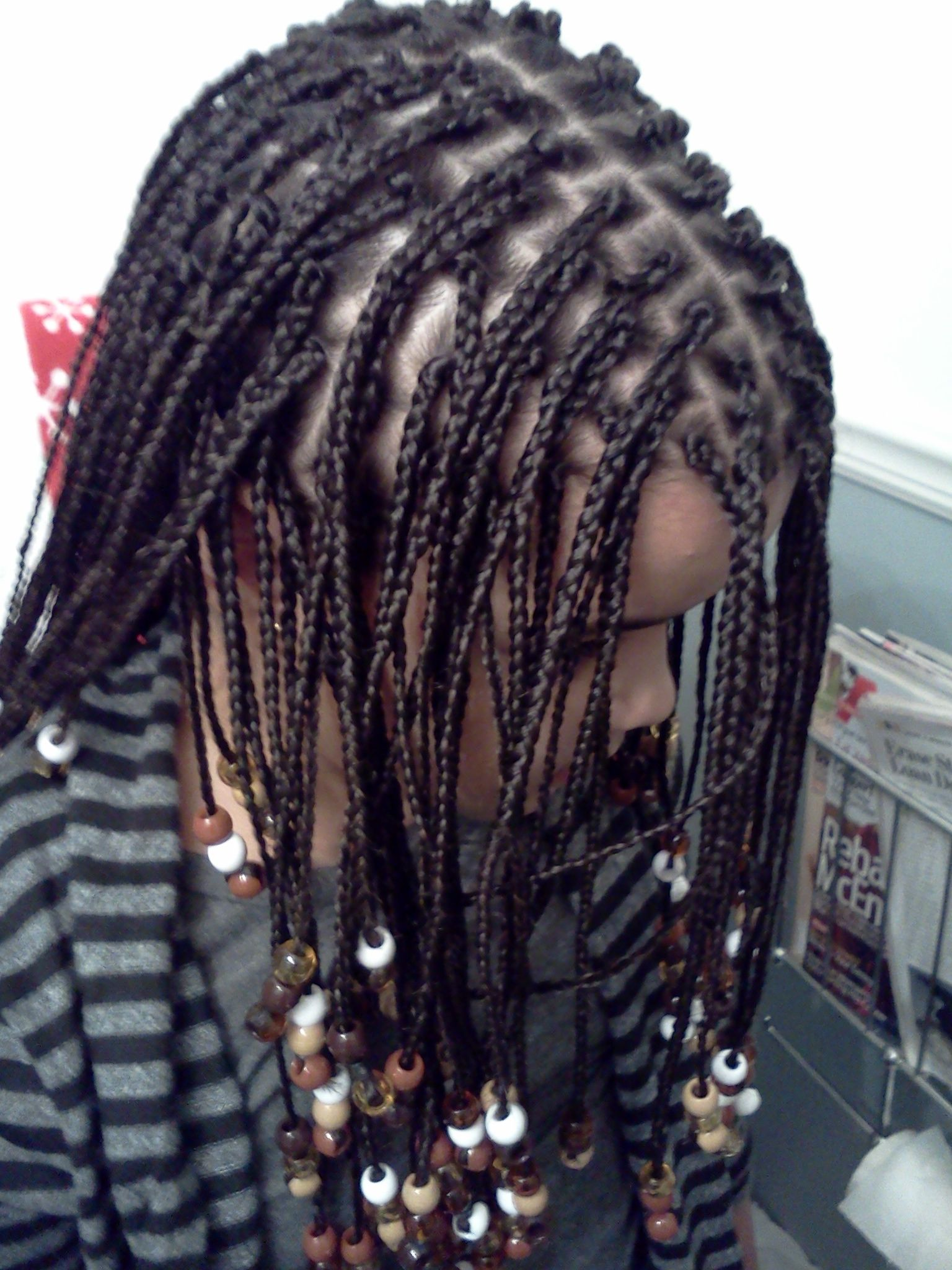 Awesome Box Braids With Added Hair And Beads Zoe Hair Styles Short Hairstyles Gunalazisus