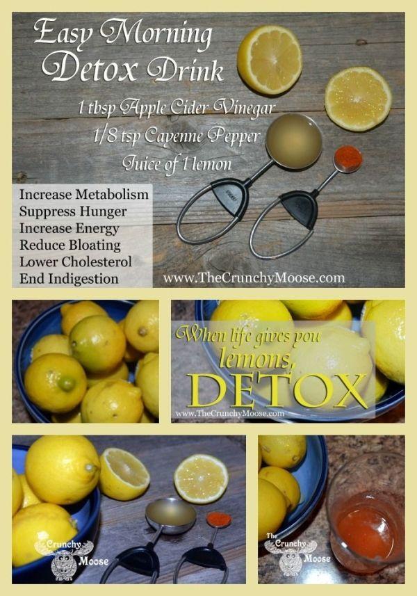 Easy morning detox! Cayenne pepper, lemon juice, apple cider vinegar. Increased energy, reduced bloating, & more! thecrunchymoose.com by Fresi