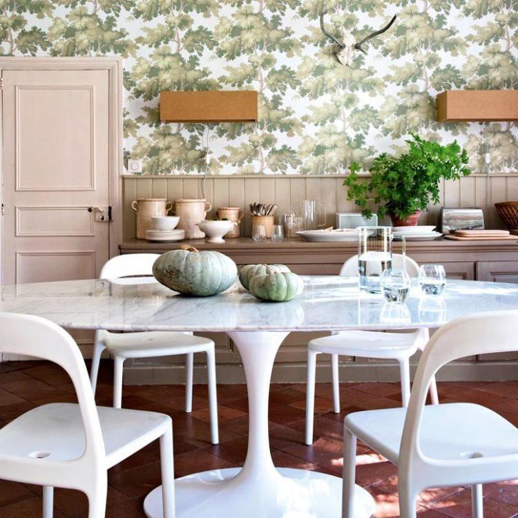 décoration champêtre, salle à manger vintage, table ovale, chaises