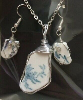 Set Irish Sea Pottery Necklace And Earrings ~ Unique ~ Blue  | eBay #irishsea