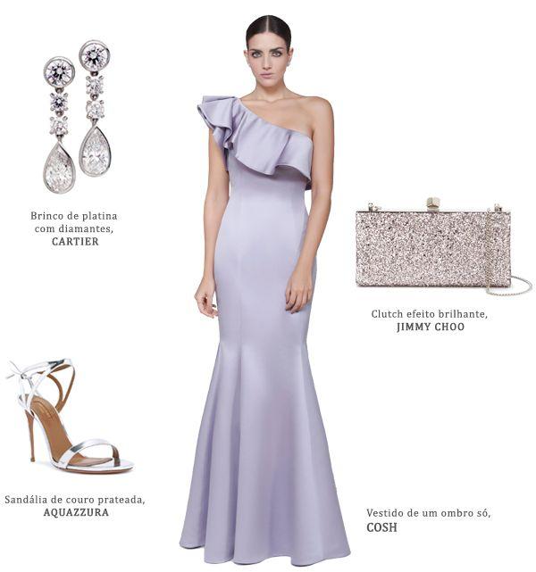 48975ef0e Look madrinha: vestido lilás Cosh + brincos de diamantes Cartier + bolsa  metálica Jimmy Choo + sandália Aquazzura