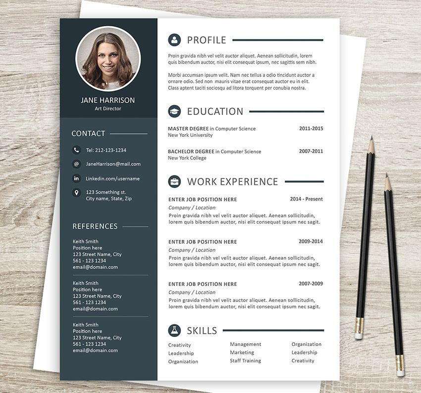 Resume template design + cover letter. A4 and US letter