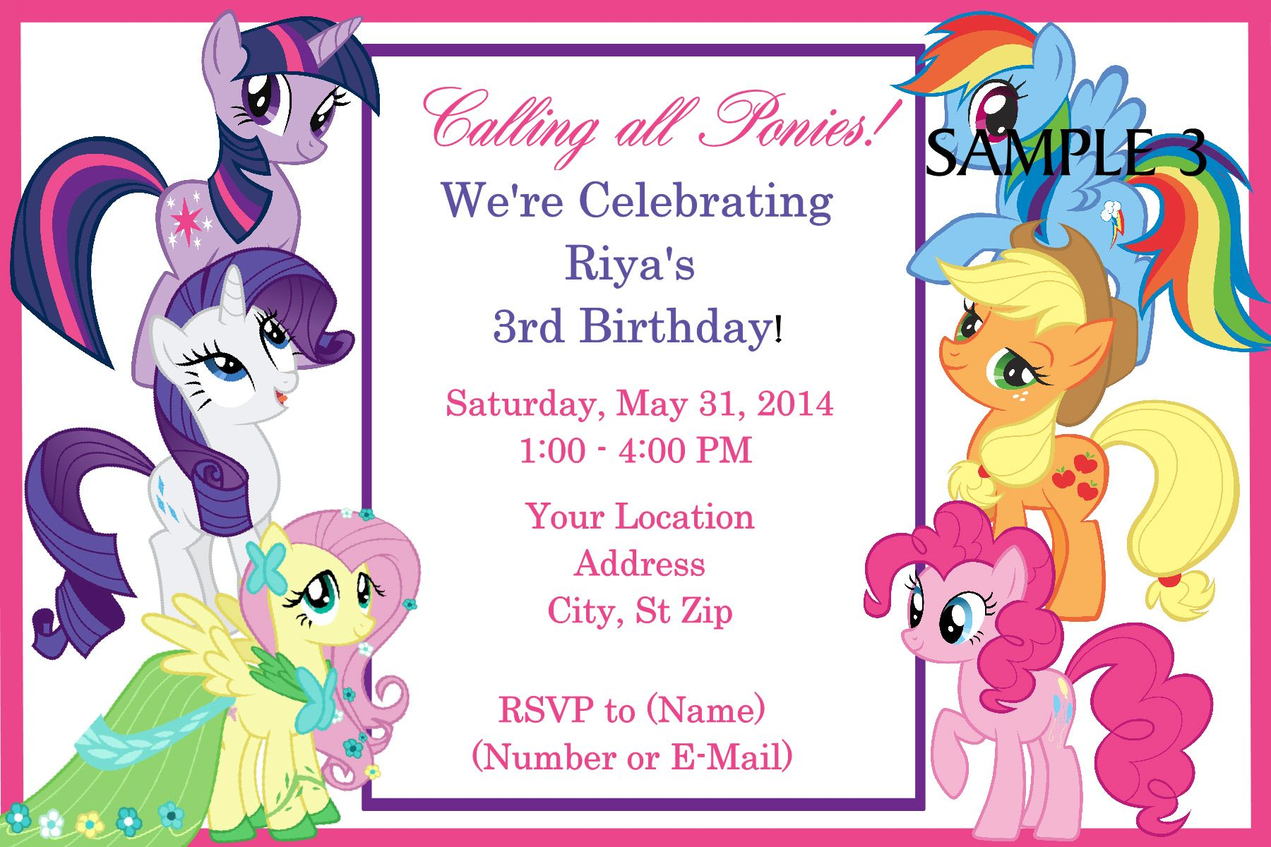 My Little Pony Birthday Invitation. Click on the image twice to ...