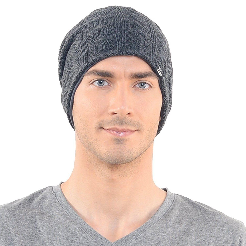 8e98c3ec3cf Stylish Men s Cable Knit Slouchy Beanie Unisex Daily Hat - Dark Gray ...