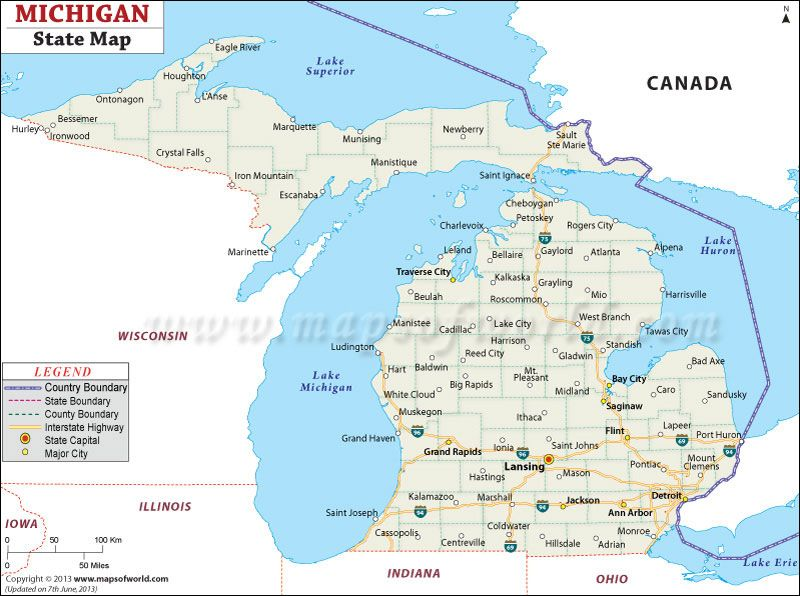 Map Of Michigan Maps Michigan State Map Map Of Michigan State Map