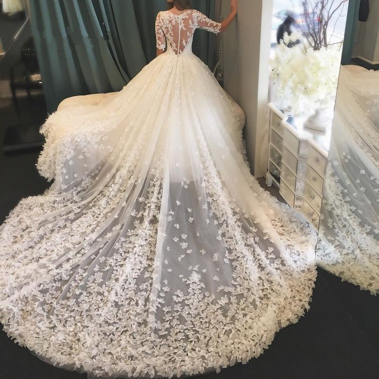 See Through Back Butterfly Appliques Wedding Dresses with