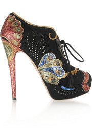 Charlotte Olympia Orient Express appliquéd suede ankle boots