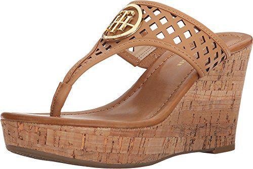 Tommy Hilfiger Women's Maci Wedge Sandal, Tan, ...