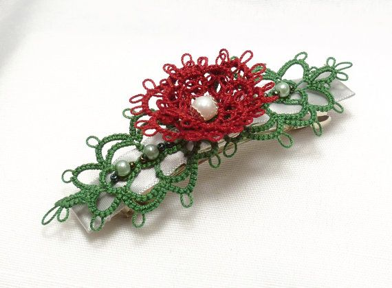 Tatted Lace Flower Barrette -Red Rosette with Leaves