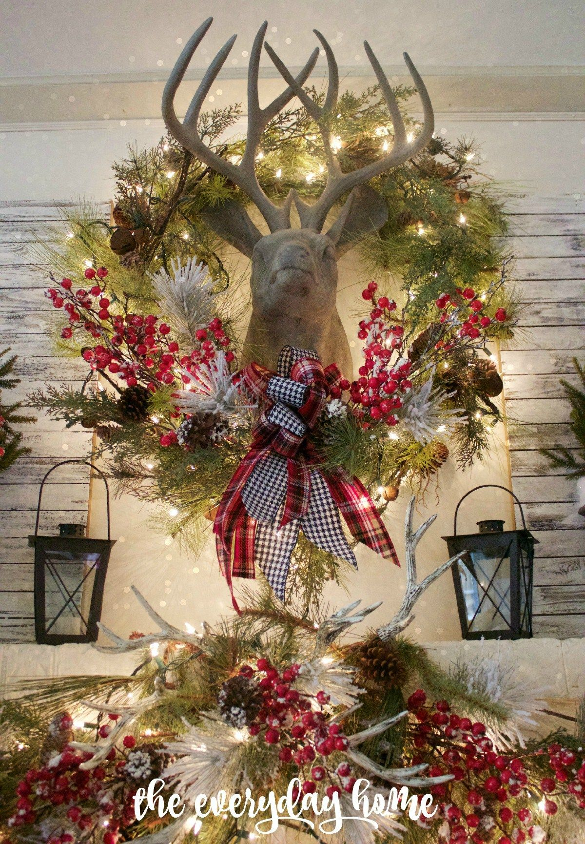 Tartan And Berry Christmas Mantel - The Everyday Home