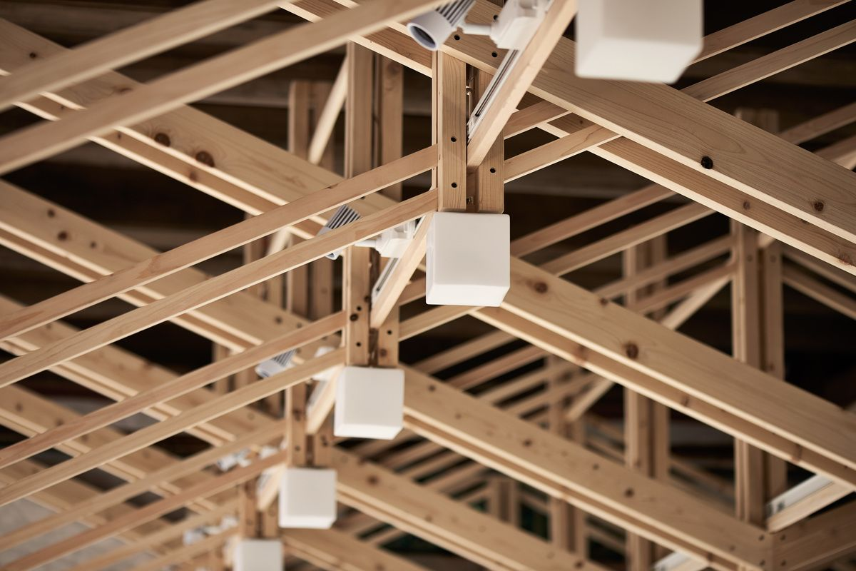 The Inverted Truss Renovation Of A Historical Buildin B P Architects Archinect Architect Wood Architecture Roof Truss Design