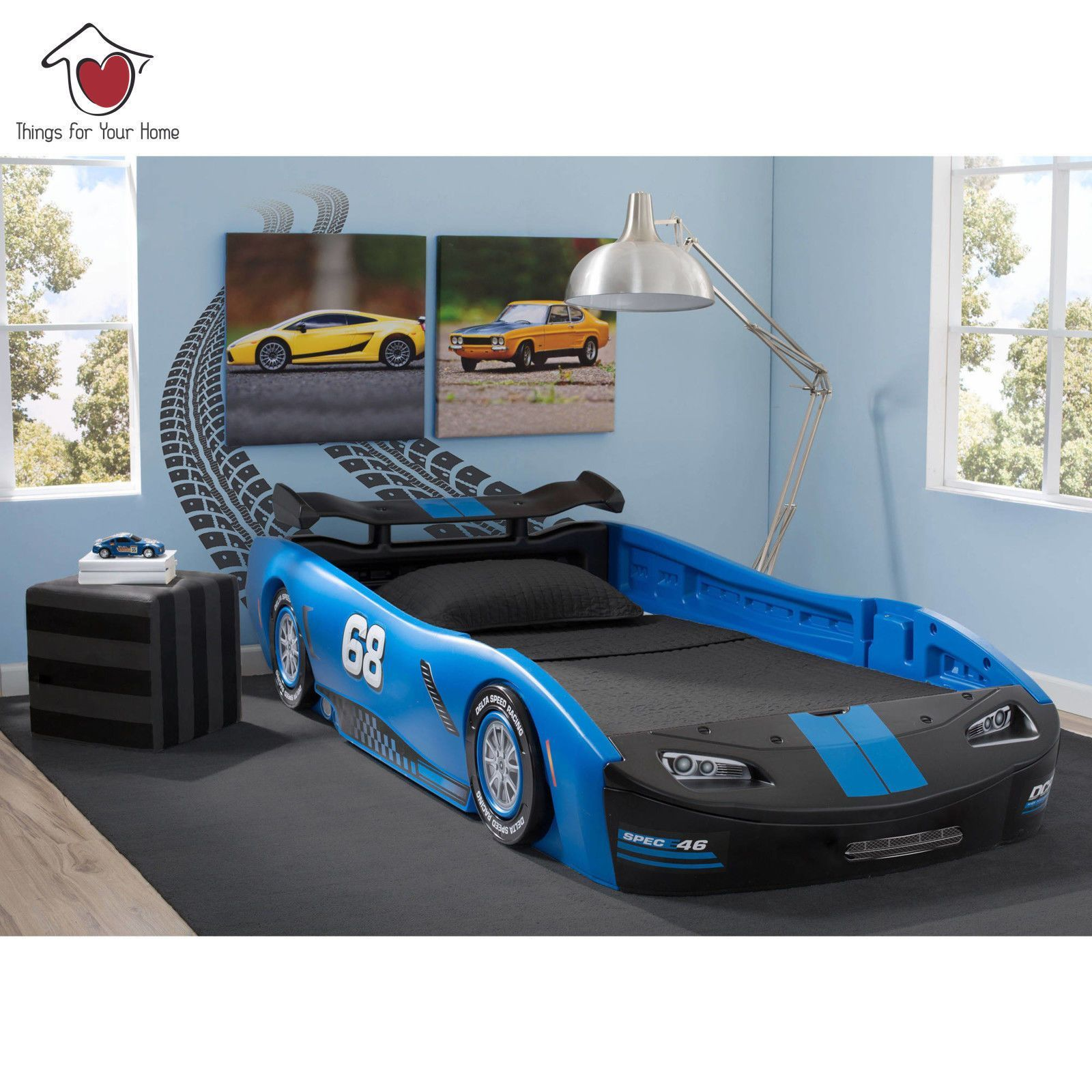 Kids Car Twin Bed Frame Race Toddler Delta For Boys Children