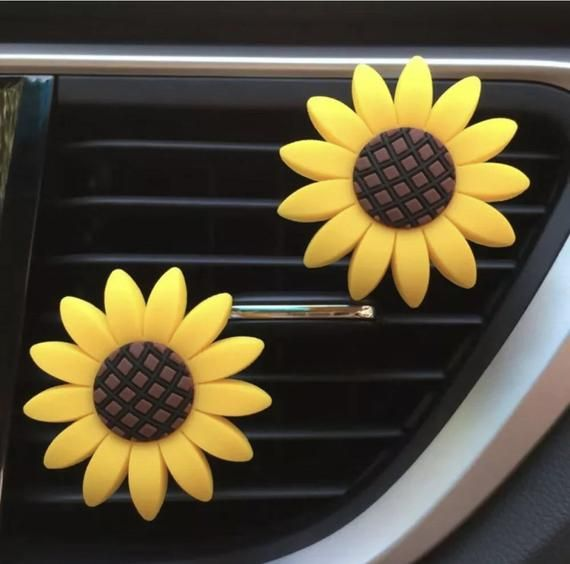 SET OF 2 Car Vent Sun Flower Car/Truck Vent Clip Air Freshener Sunflowers