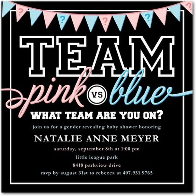 Team Pink vs Team Blue Gender reveal Invitation – Invitations for Gender Reveal Party