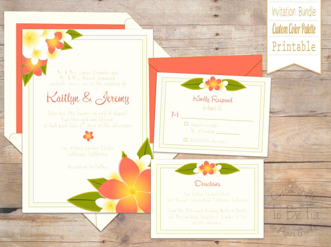 Custom-made, Printable Plumeria / Tropical Wedding Invitation Suite ...