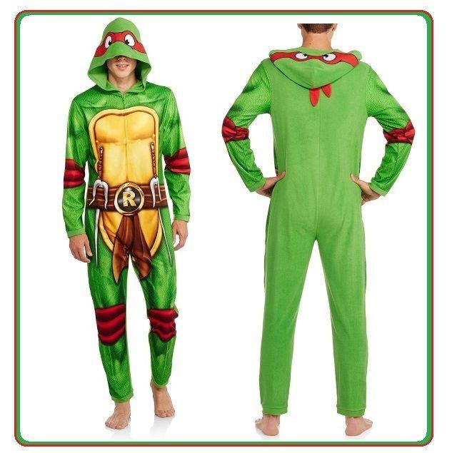 e5b332329 NEW! Mens XL TMNT Raphael UNION SUIT PAJAMA costume Teenage Mutant ...