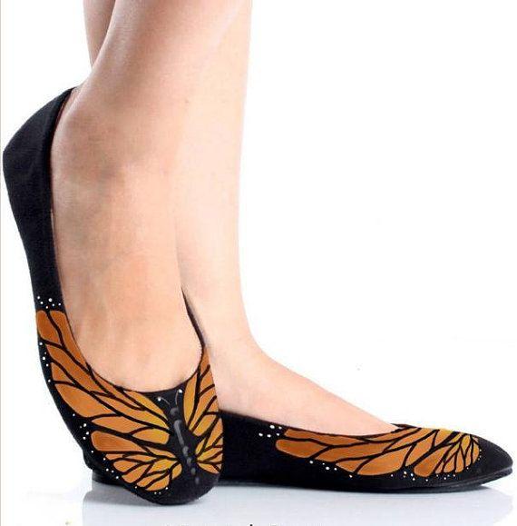Zapatos mariposa pintado monarca para bodas y por