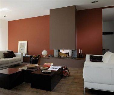 peinture rouge brique et couleur taupe dans un salon cocooning bleu turquoise pour un salon design - Couleur Chaleureuse Pour Salon