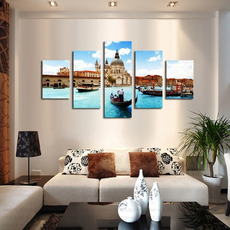 No Frame 5 Piece Water City Modern Home Wall Decor Canvas Picture Art Hd