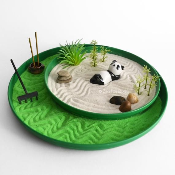 Mini Zen Garden // Panda Figurine // Incense Burner // Bamboo // DIY Kit // Feng Shui // Housewarmin #zengardens