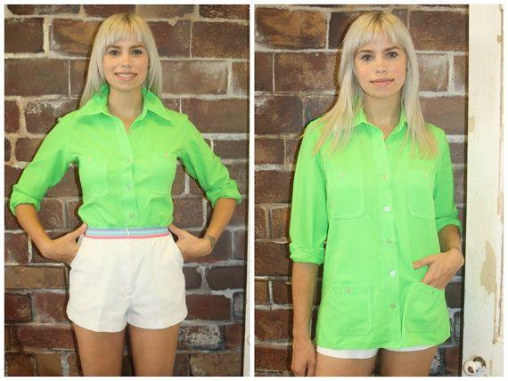 70's Neon Green Long Sleeve Button Down// by littlebrooklynstpete, $20.00