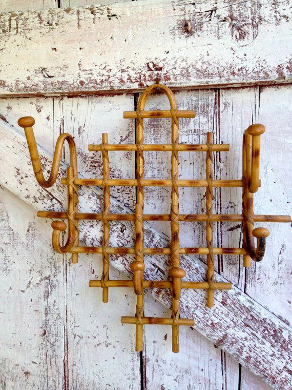 Vintage Bamboo Hat Coat Rack Hanger Rattan Wall Hanger With Etsy Coat Rack Hooks Wall Hanger Coat Rack