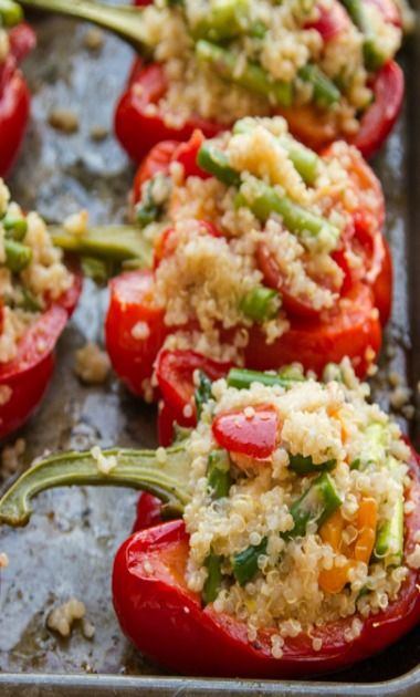 a56767b1947d Quinoa stuffed peppers. Use feta cheese instead. Add cooked ground turkey  or chicken .