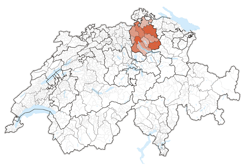 Location in Switzerland Map of Zrich The canton is located in the