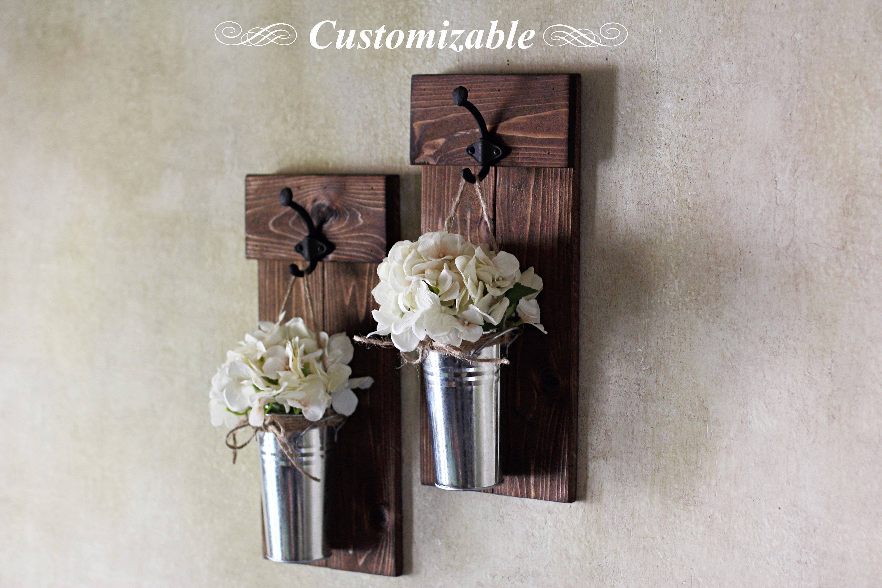 Farmhouse Decor, Wall Sconce Set, Rustic Wall Decor, Metal Wood