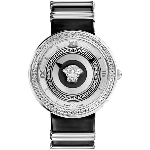 Versace 'V-Metal Icon' Round Leather Strap Watch, 40mm (63,200 DOP) ❤ liked on Polyvore featuring jewelry, watches, antique cameo jewelry, cameo jewellery, antique watches, leather-strap watches e roman numeral watches