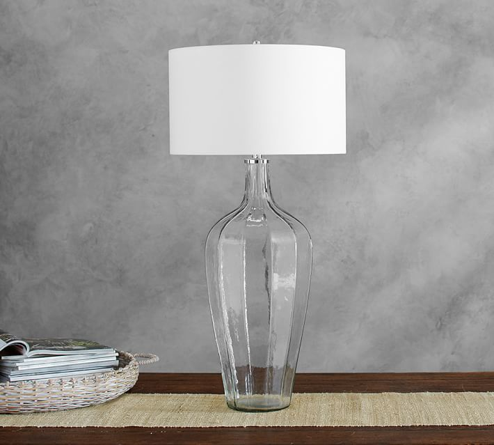 Pottery Barn Victoria Faceted Glass Console Lamp Faceted Glass And - Pottery barn glass console table
