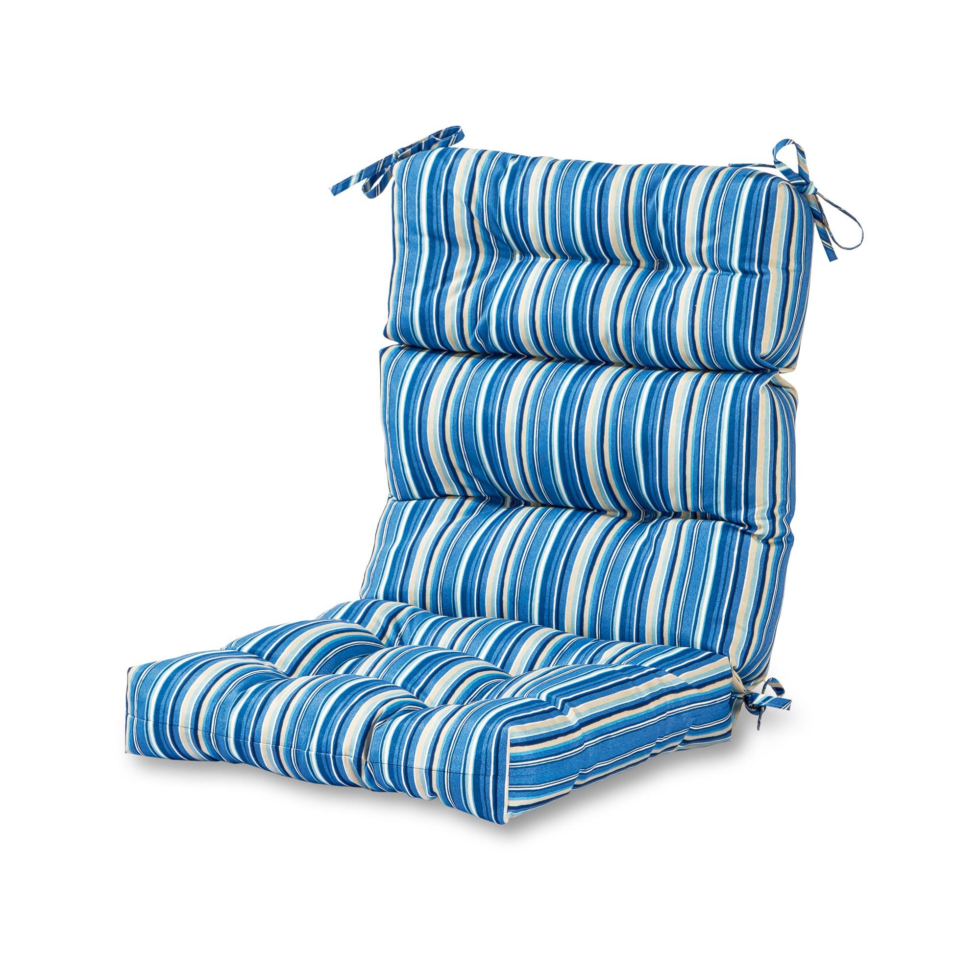 Sapphire Stripe Outdoor High Back Chair Cushion